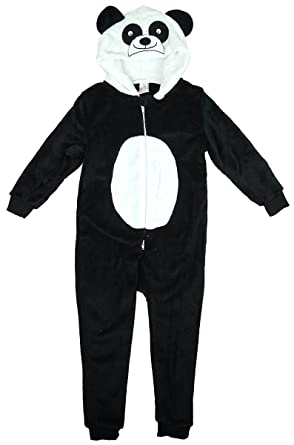 884fcb191bd78 filles nouveauté visage panda capuche fermeture éclair pyjama combinaison  en polaire barboteuse tailles de 2 à