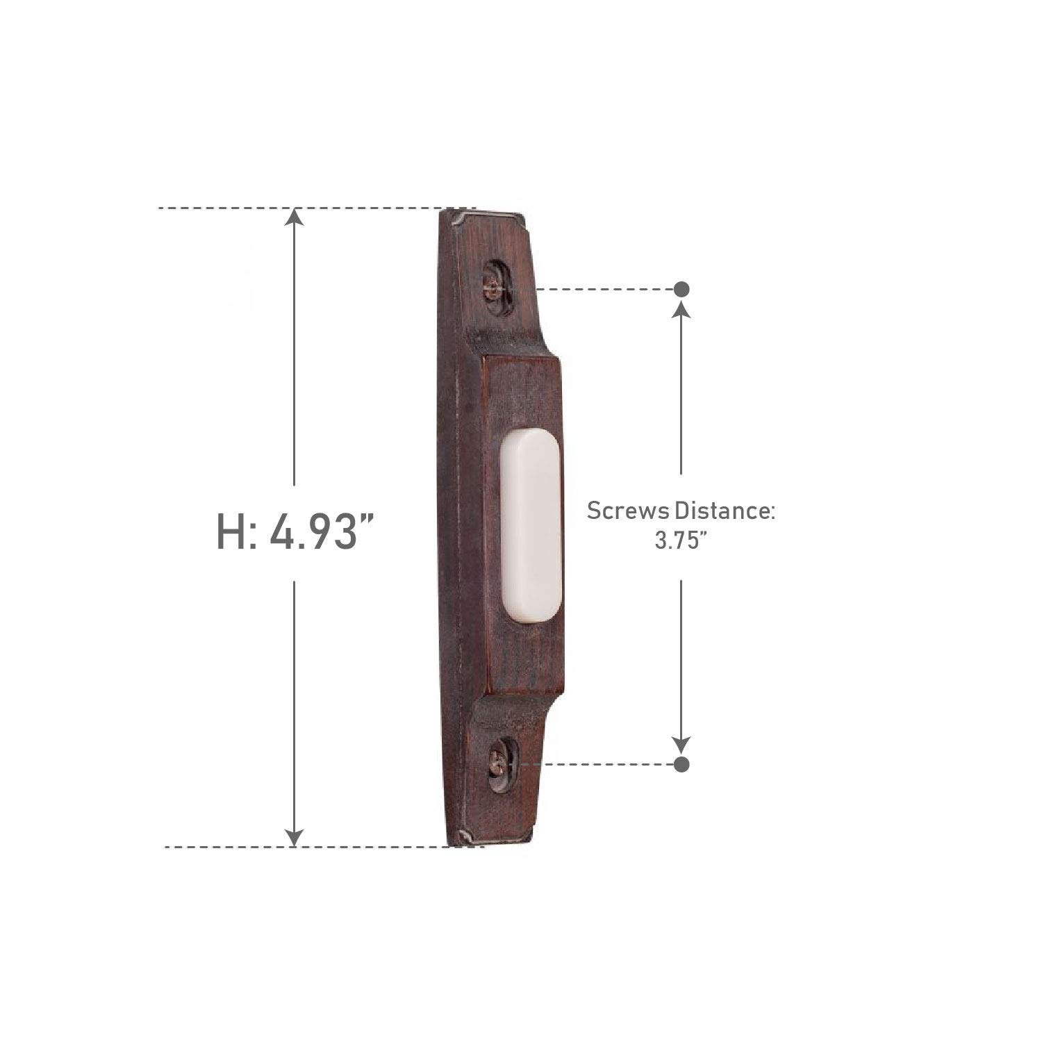 Craftmade BS3-RB Designer Surface Mount Thin Profile Lighted Doorbell LED Push Button, Rustic Brick (4.93''H x 0.75''W)