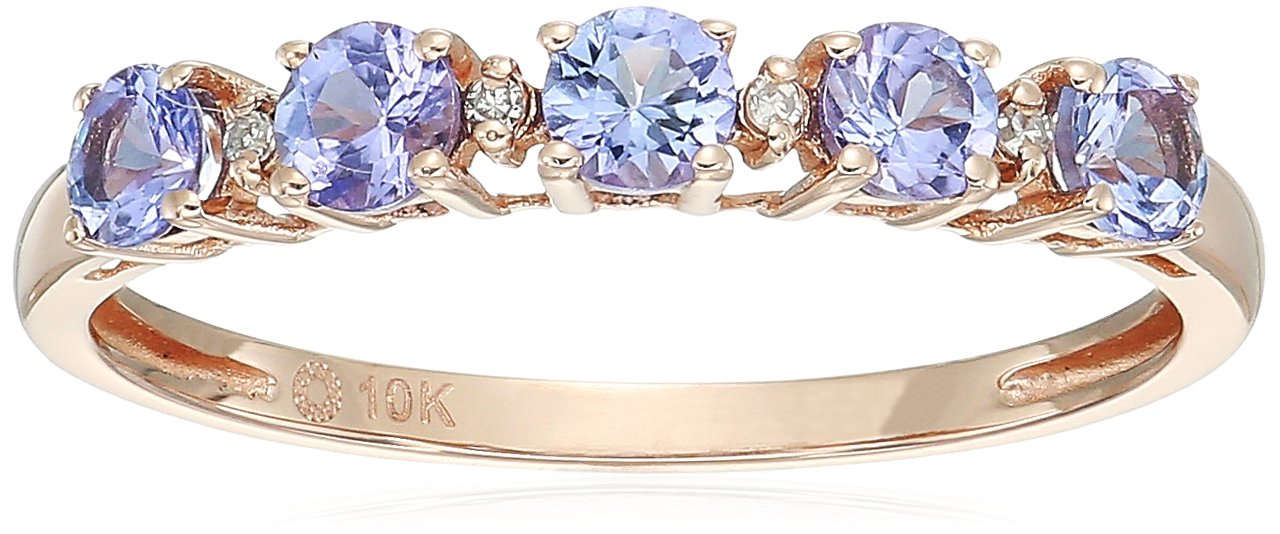 10k Rose Gold Tanzanite and Diamond Accented Stackable Ring, Size 8