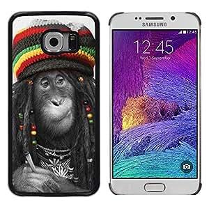 King Case - FOR Samsung Galaxy S6 EDGE - Monkey Cute Animal - Caja protectora de pl??stico duro Dise?¡Àado