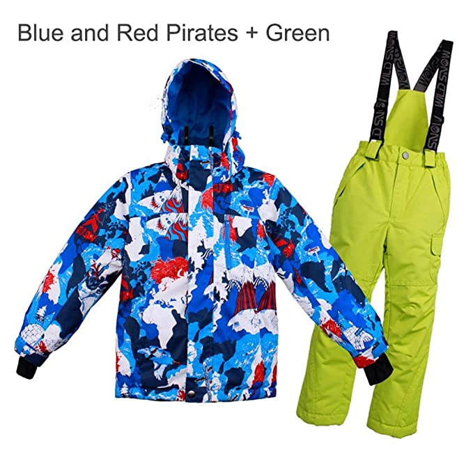 Chaqueta Esqui Niños Pantalón Impermeable, Traje de Snowboard Abajo Cálido Impermeable Chica Tamaño Grande Sudadera