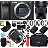 Sony a6500 4K Mirrorless Camera Body w/APS-C Sensor Black (ILCE-6500/B) with Sigma 30mm F1.4 DC DN Lens Bundle