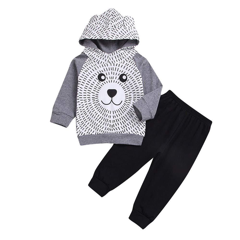 Sikye Children Winter Clothes Kids Newborn Boys Girls Sweatershirt Cartoon Bear Hooded Hooide + Black Pant Set Outwear (Gray, 70 (3-6M))