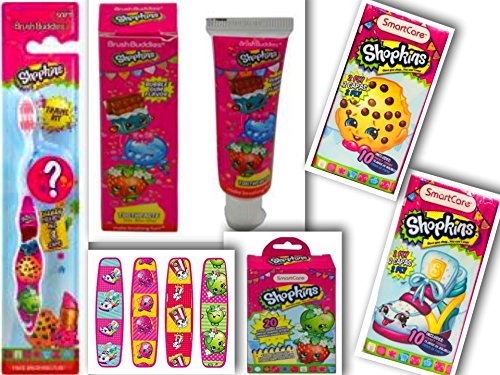 Toothpaste Flavored Apple (Shopkins Health & Oral Care 5 Item Bundle: 1 Toothbrush w/Collectible Cap | Travel Toothpaste | Adhesive Sterile Bandages | 2 Assorted 2-Ply Pocket Tissues (10 Tissues Each-20 Total))