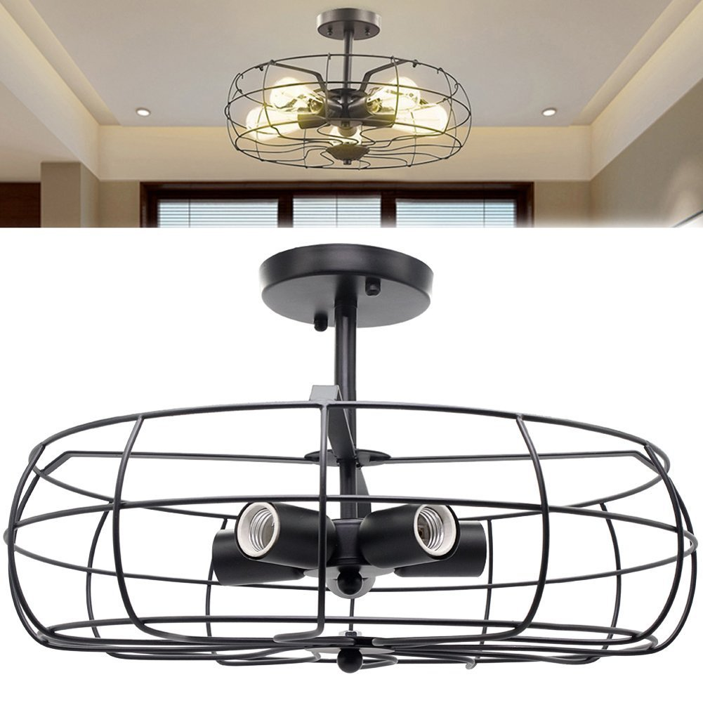 Industrial Vintage Style Rustic Semi Flush Mount Ceiling Light Mini Retro Pendant Lighting Hanging Ceiling Light Fixture Oil Rubbed Bronze Finish Metal Cage Lamp Shade with Wire for Indoor, Hallway, Aisle, Porch Black Dingcheng
