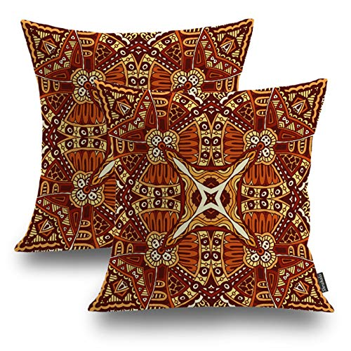 Shrahala Ethnic Indian Decorative Pillow Covers, Abstract Festival Ethnic Geometric Colorful Design African Batik Cushion Case for Sofa Bedroom Car Cushion Square 18 x 18 Inches Black 01, Set of 2 (Pillows Outdoor Batik)
