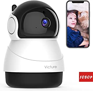 Victure 1080P WiFi Pet Camera FHD Indoor Wireless Surveillance Security IP Camera with Motion Detection Night Vision 2-Way Audio Cloud Storage for Baby/Elder/Pet Monitor with Camera