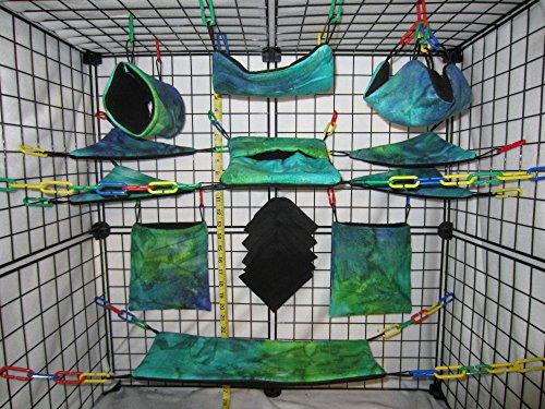 15 Piece Sugar Glider Cage Set 'Aqua Tie Dye' - Sugar Blanket Fleece Glider
