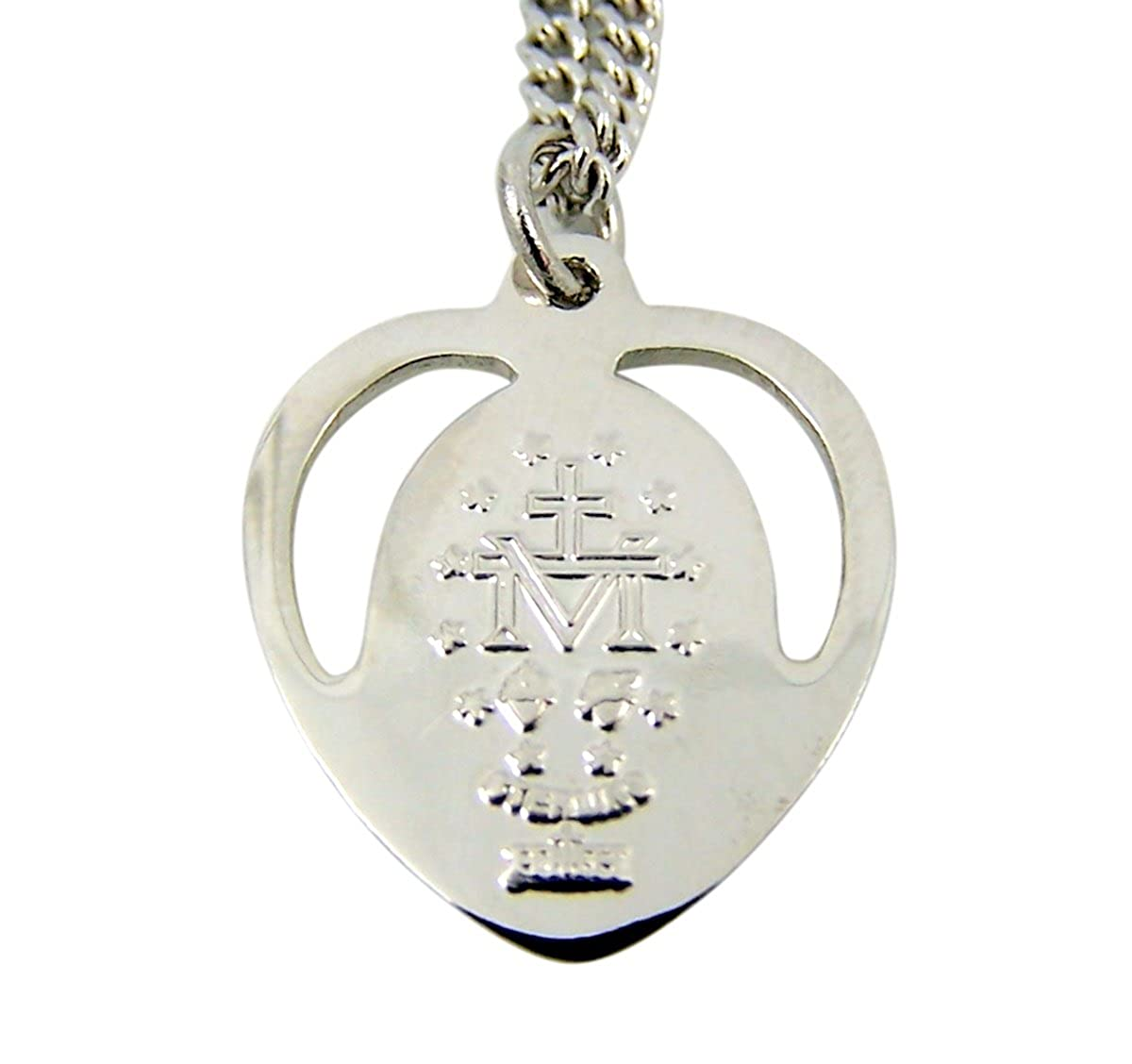 7//8 Inch Sterling Silver Blue Enameled Miraculous Medal Pierced Heart Pendant