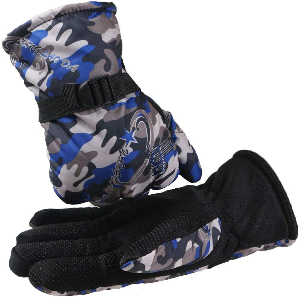 Bluelucon Men Winter Thermal Gloves Plus Thickening Warm Gloves Camouflage Mittens for Skiing Snowboarding Hiking Shoveling Motorcycle Driving
