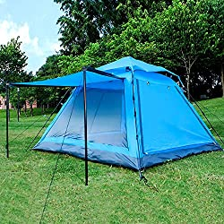 Instant 4 Person Hydraumatic Large Dome Tent Double Layer 2-Door Opening Screened Family Camping Canopy Shelter Tent (82'' x 82'' x 53'')