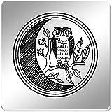 Azeeda 6 x 'Moon Owl' 95mm Mirror Coasters (CR00105873)