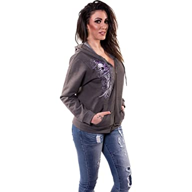 6bba7dd2 Amazon.com: Lethal Angel Women's Embroidered Wing Skull Hoodie 2XL ...