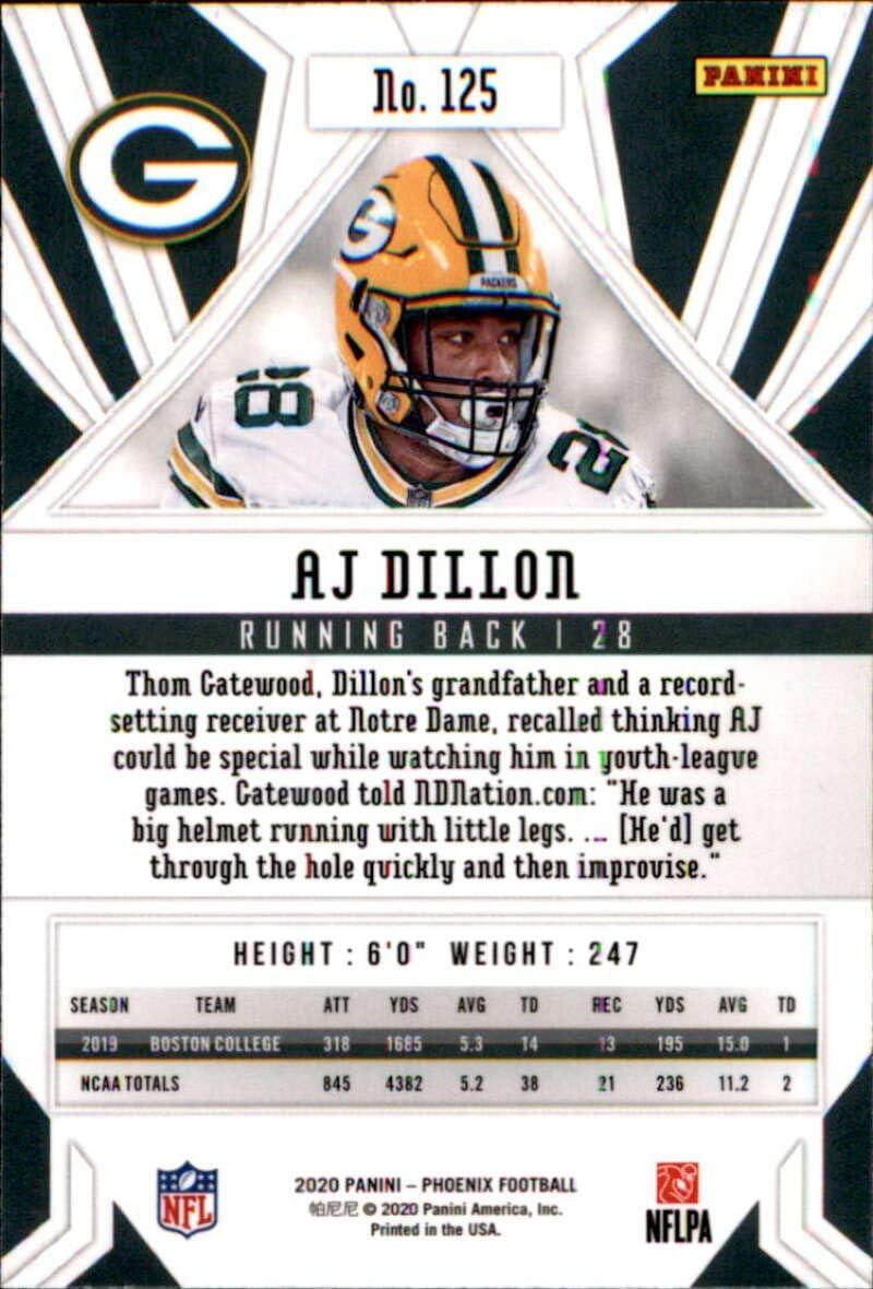 2020 Panini Phoenix Fire Burst Parallel Football #125 AJ Dillon Rookie Card