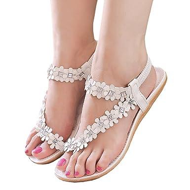 Amazon zeagoo women bohemia flower beads flip flop shoes flat zeagoo women bohemia flower beads flip flop shoes flat sandals us 55 white mightylinksfo