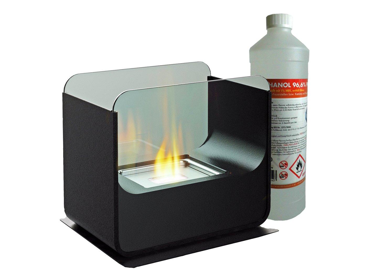 Luxus Tischkamin / Glaskamin ca. 26cm inkl. 1Liter Bio-Ethanol, Tischfeuer für eine behagliche Atmosphäre