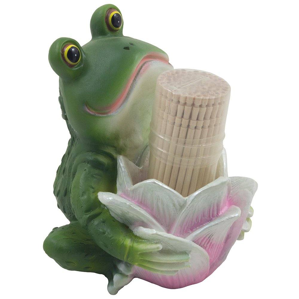 Cute Smiling Frog Holding Lily Flower Toothpick Holder for Whimsical Outdoor Decorations or Decorative Country Cottage Kitchen Decor As Unique Wedding Gifts For Women