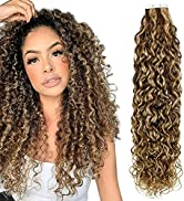 Hetto Curly Hair Extensions Tape in Human Hair Extensions #4 Dark Brown Highlight with #27 Honey ...