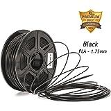 3D filament, PLA- BLACK, DAZZLE LIGHT 3D PLA-1KG 1.75-BLK PLA 3D Printer Filament, Dimensional Accuracy +/- 0.02 mm, 1 kg Spool, 1.75 mm, Black for 3D Printers & 3D Pens, (Black)