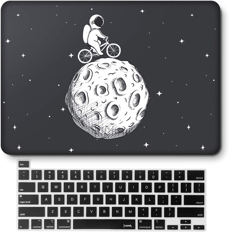 jvomk MacBook Pro 16 inch Case 2019 Release A2141 with Touch Bar & Touch ID, Plastic Hard Shell Case & Keyboard Cover Apple Laptop case Compatible with MacBook Pro 16 Black (Cycling on Moon)