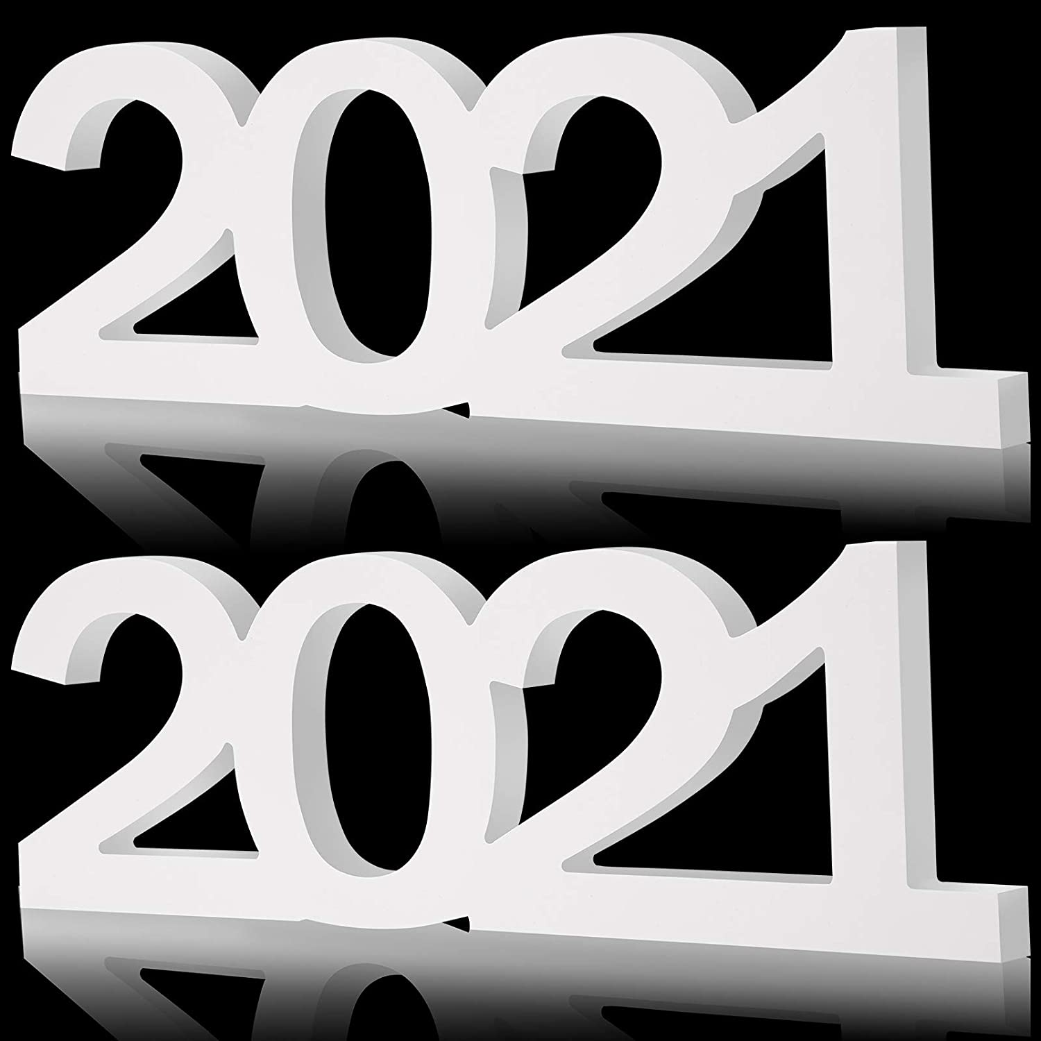 2 Pieces 2021 Wooden Sign Graduation Decorations 2021 Centerpieces 2021 Letter Table Sign Table Free-Standing 2021 Sign for Graduation Party Supplies New Years Holiday Home Decor (White)