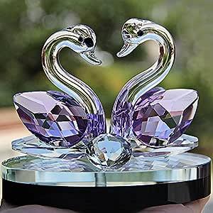 Adorno de cisne de cristal con diseño de cisne de cristal ...