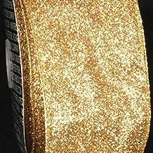 "Premium Sparkling Gold Wired Glitter Craft Ribbon 3"" x 40 Yards"