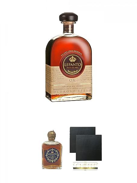Lepanto O.V. Oloroso Viejo 0,7 Liter + Lepanto Brandy 5 cl Miniatur + Schiefer Glasuntersetzer eckig ca. 9,5 cm Ø 2 Stück