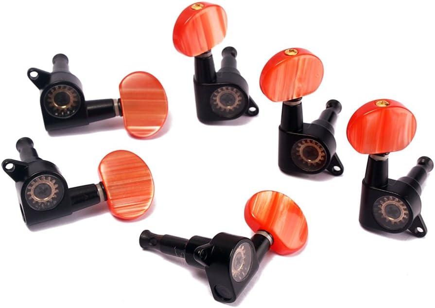 Artibetter 6pcs guitarra eléctrica clavijas afinadoras 3L3R afinadores afiladores de la máquina con botón rojo