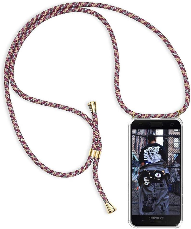 MEIVS Funda Compatible con Samsung Galaxy S10E Ajustable Collar Correa de Cuello Cord/ónCarcasa de Silicona-Negro