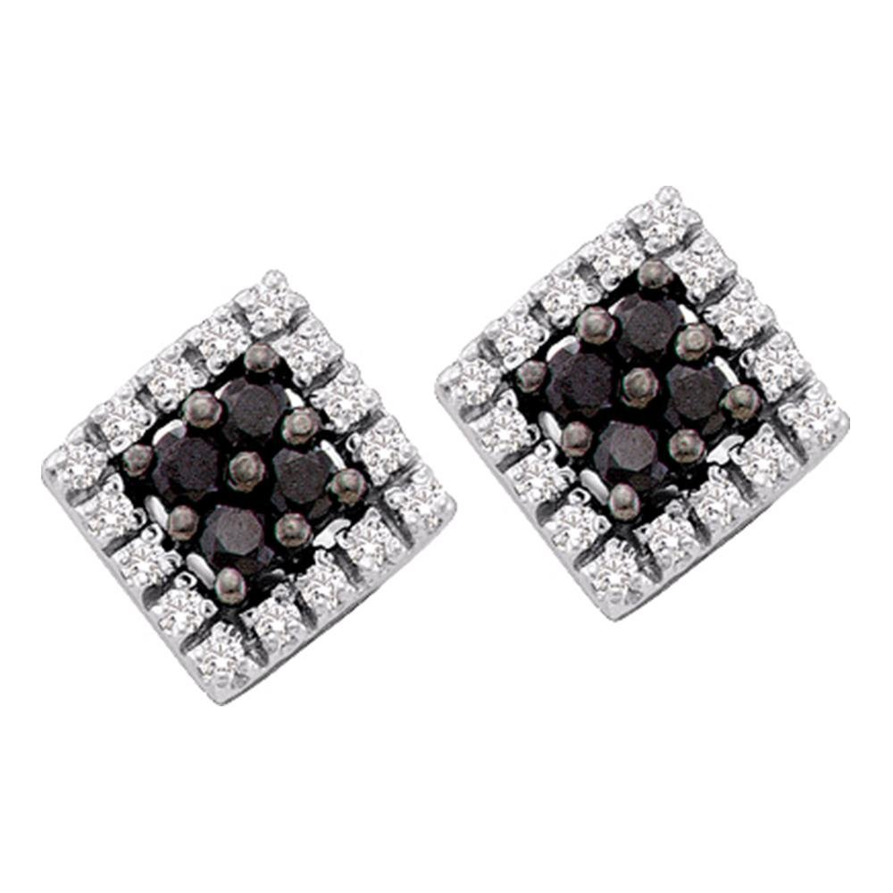 d9e43167e Amazon.com: Square Black Diamond Stud Earrings 14k White Gold Round Cluster  Studs Fashion Style Fancy 1/4 Cttw: Jewelry