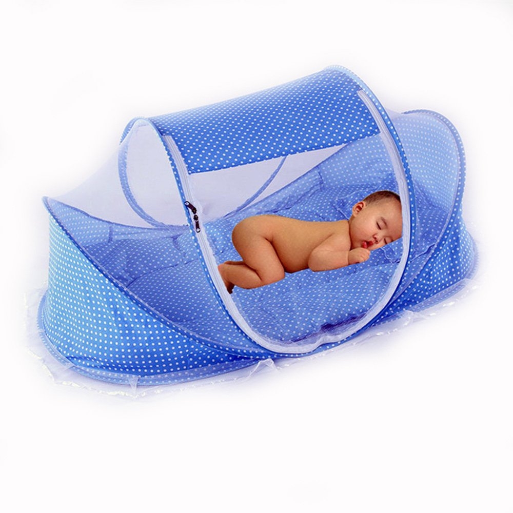 CHRISLZ Summer Mosquito Net for Children ,Portable Folding Baby Travel Bed Crib Baby Cots Newborn Foldable Crib (blue)
