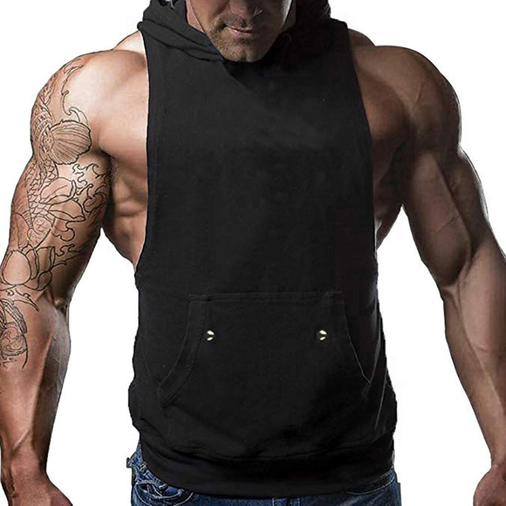 Handsome Men Tank Tops Cut Off Hooded Pocket Muscle Gym Sleeveless T-Shirt Bodybuilding (Black, M)