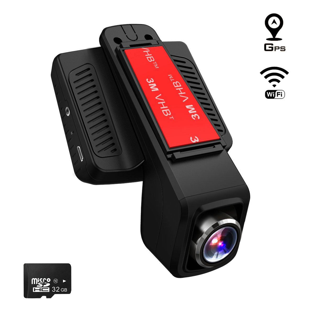 TOGUARD Caméra de Voiture GPS WiFi Grand Angle de 170° Caméra Embarquée Full HD 1080P, Dashcam Voiture Avec Objectif Réglable Écran 2.45 Pouces IPS LCD, Enregistrement En Boucle,Détection de Mouvement CE20G