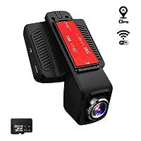 TOGUARD Caméra de Voiture GPS WiFi Grand Angle de 170° Caméra Embarquée Full HD 1080P, Dashcam Voiture Avec Objectif Réglable Écran 2.45 Pouces IPS LCD, Enregistrement En Boucle, Détection de Mouvement, Moniteur de Stationnement, HDR - Avec Un Chargeur de Voiture Avec Module GPS, 32 Go Carte MicroSD Inclus