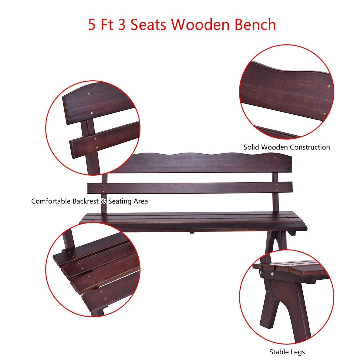 MD Group 5 ft 3 Seats Outdoor Wooden Garden Bench Chair, Brown by MD Group (Image #7)