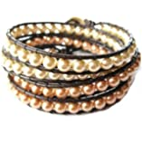 White and Golden Glass glass Pearl four-Wrap Bracelet