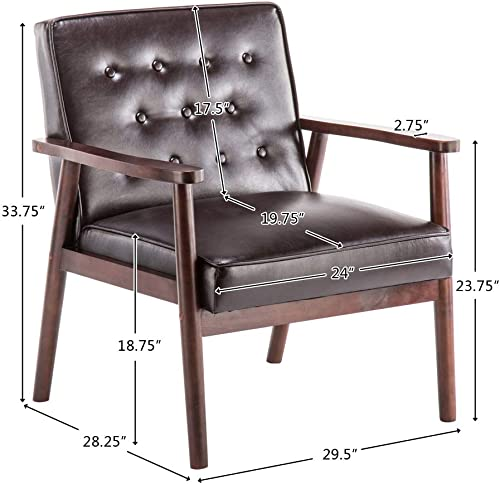 Road.Ahead Mid-Century Retro Modern Faux Leather Upholstered Wooden Lounge Chair, Living Room Chairs -Brown