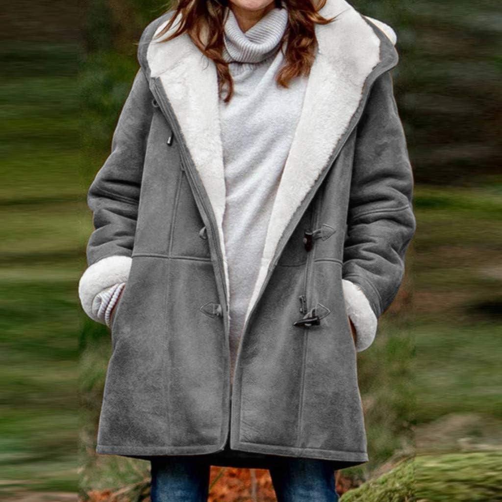 Ulanda Women Hooded Warm Coats Winter Plus Size Solid Plus Velvet Coat Horn Buckle Pocket Overcoat Long Coat