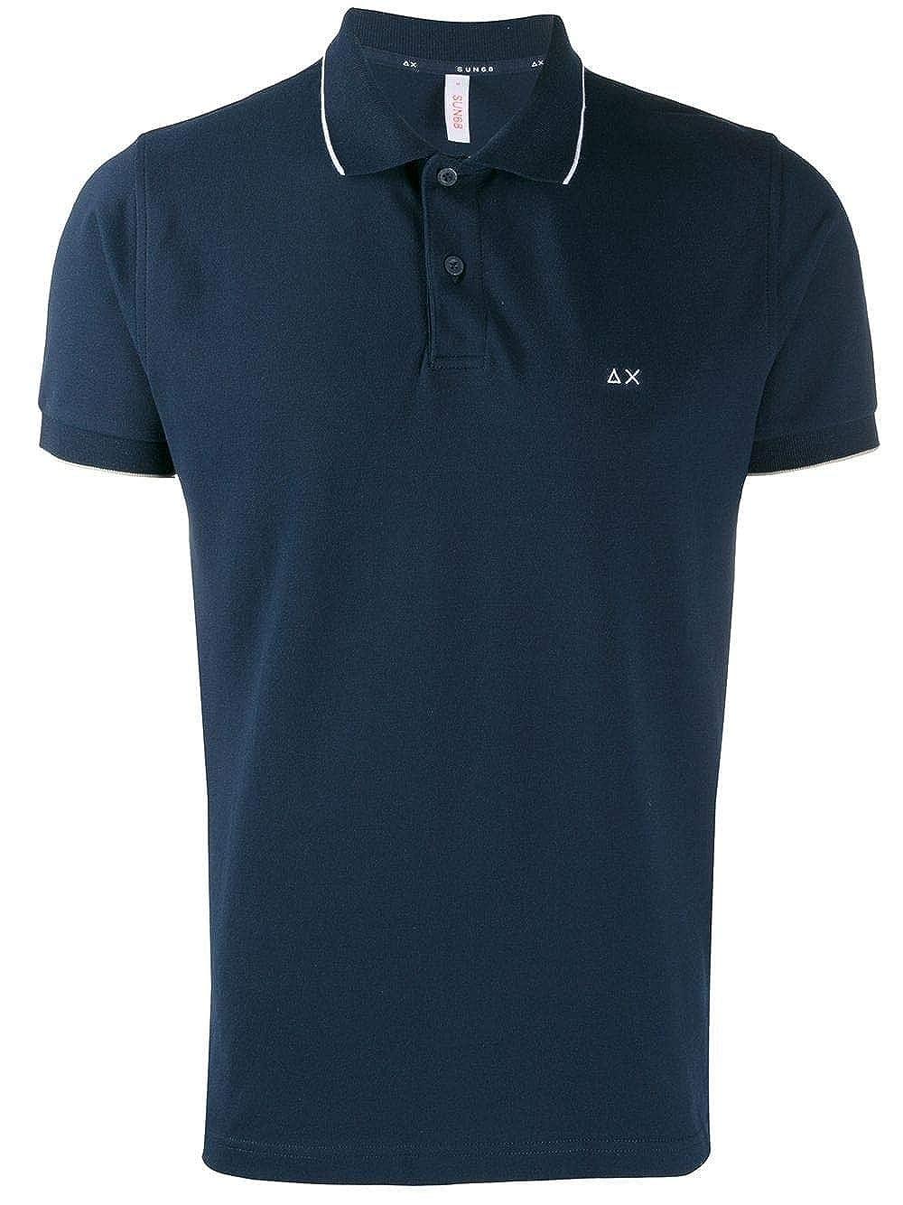 SUN68 Luxury Fashion Mens Polo Shirt Summer Blue