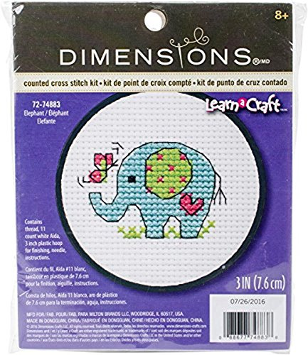 "Learn-A-Craft Elephant Counted Cross Stitch Kit-3"" 11 Count"