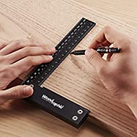 Woodraphic Signature Precision Square in Tool 12-inch Guaranteed T Speed Measurements Ruler for Measuring and Marking Woodworking Carpenters Aluminum Steel Framing Professional Carpentry Use