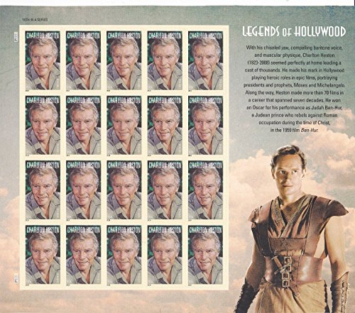 Charlton Heston, Legends Of Hollywood, Full Sheet of 20 x Forever Stamps, USA 2014, Scott - Xx Racing Sunglasses