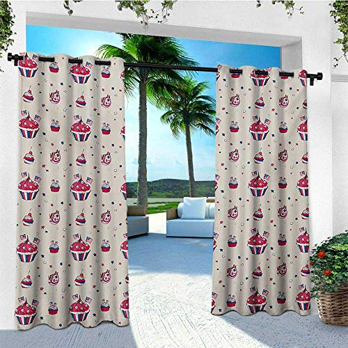 leinuoyi USA, Outdoor Curtain Kit, Cupcakes with National Flags Cute Cafe Yummy Homeland July Fourth Caricature, Outdoor Patio Curtains W72 x L96 Inch Beige Navy Blue Red