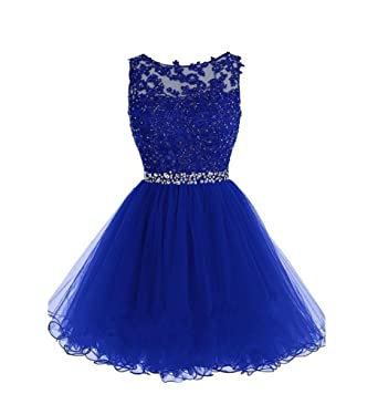 Drasawee Short Tulle Evening Cocktail Ball Gowns Prom Dresses for Teen Girls Blue US0