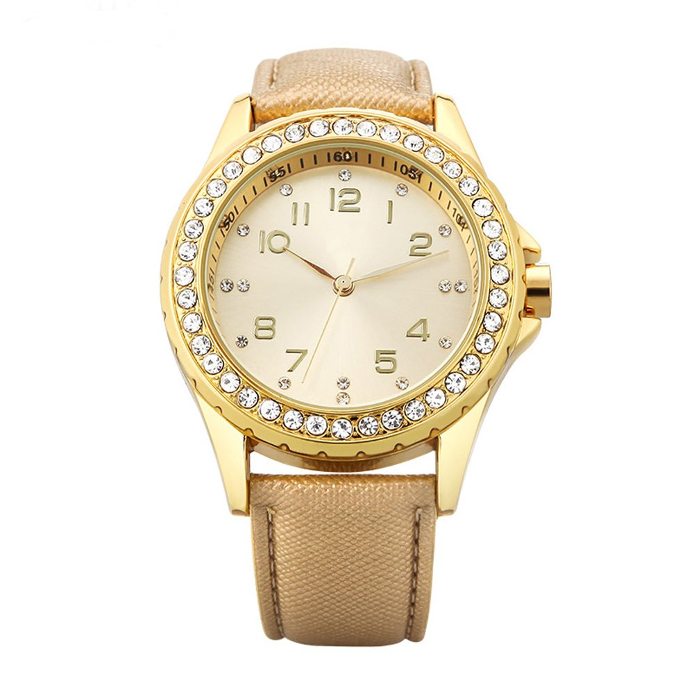 Wrist Watch for Women, Simple Business Casual Fashion Classic Analog (Quartz) Watches, Waterproof Ultra Thin Case with Genuine Leather Band (gold)
