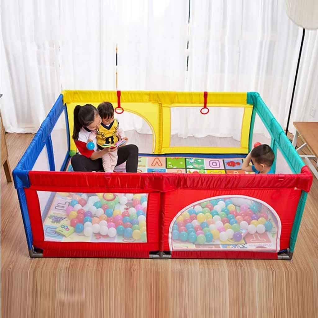 Playpen Extra Large Baby with Mat Toddler Portable Playard Childrens Game Fence,Multicolor