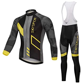 SKYSPER Ciclismo Maillot Hombres Jersey + Pantalones Largos Culote ...