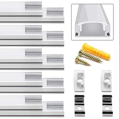 LED Aluminium Profil, Jirvyuk Led Aluminium Leisten 10 Pack 1M/ 3.3ft V-Form Aluminium Extrusion Milchig Deckel Endkappen Met