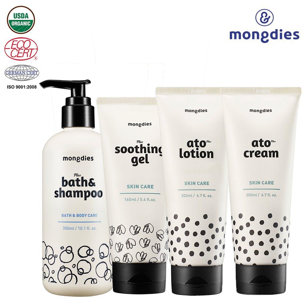 [mongdies] Hypoallergenic Baby Bath & Shampoo & Soothing Gel & Atolotion & Atocream 4 Set - For Baby Atopic Dermatitis & Eczema - Deep Sea Water & Ceramide & Beta Glucan